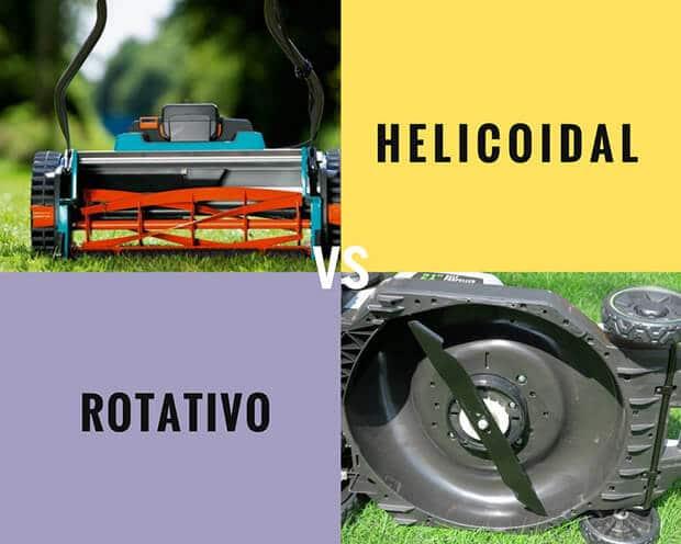 Cortacésped helicoidal y rotativo